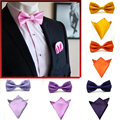 19 Цветов Мода Мужская Bowties и Карманные Площади Сплошной Цвет Самостоятельно Мужчины галстук-Бабочку Галстук Мужские Платок Набор JBtr0018