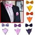 19 Colors Fashions Mens Bowties and Pocket Squares Solid Color Self Men Bow Tie  Necktie Mens Handkerchief  Set JBtr0018