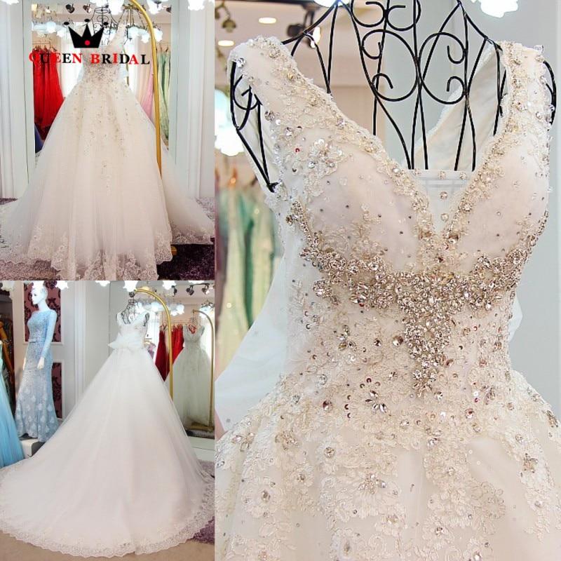 Custom Made Ball Gown V-neck Lace Crystal Beaded Luxury Long Wedding Dresses Bridal Gown robe de mariee Vestidos De Novia WS86