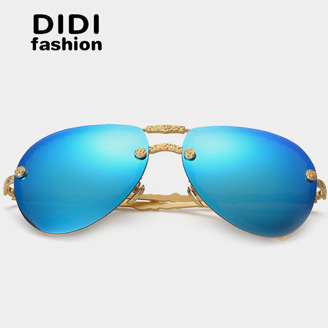b52d168598 DIDI 2017 Polarized Sunglasses Women Rose Flower Gold Frame Aviator Glasses  Luxury Brand Flat Top Rimless