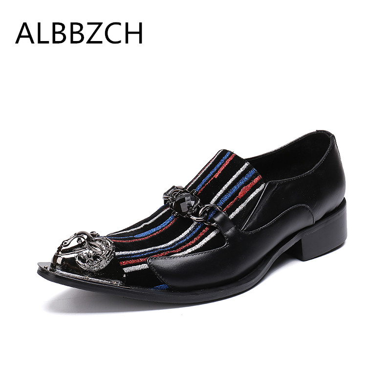 Luxury brand designer metal pointed toe fashion patckwork genuine leather men shoes loafers casual party shoes career work shoesLuxury brand designer metal pointed toe fashion patckwork genuine leather men shoes loafers casual party shoes career work shoes