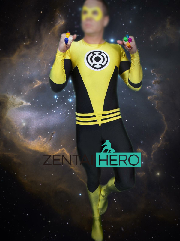 Free Shipping DHL Custom Made Yellow Lantern Sinestro Corps Cosplay Costume Male Bodysuit Superhero Tight Halloween Catsuit