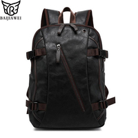 BAIJIAWEI Mix Oxhide Leather Backpack Mix Leather Men's Casual Backpack & Travel Bags College Style Bag Mochila Zip