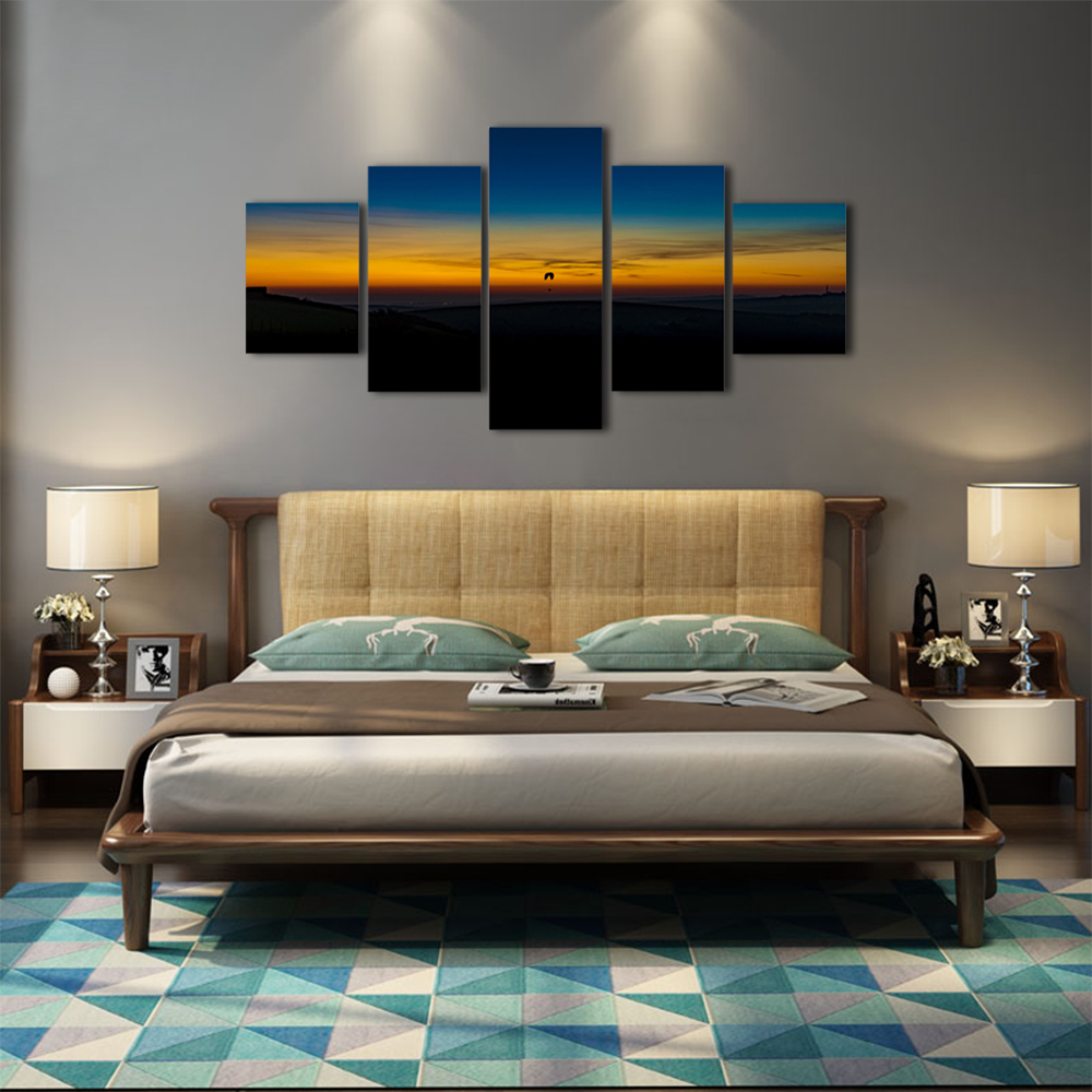 Unframed 5 panel HD Canvas Wall Art Giclee Painting Sunset Landscape For Living Room Home Decor Unframed Free shipping