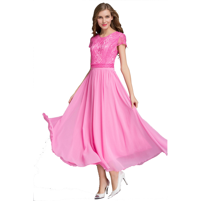 Promote Quality Ladies Chiffon Lace A Dress Big Size XL Women Summer Long  Dress Ankle Length Dress Female Formal Chiffon Gowns 115660fe3099