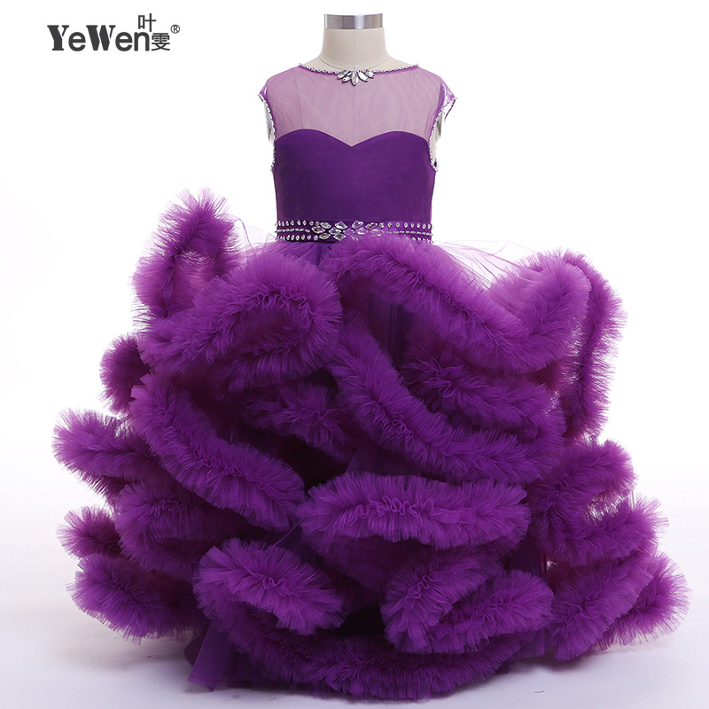 2018 Cloud little   flower     girls     dresses   for weddings Baby Party frocks sexy children images   Dress   kids prom   dresses   evening gowns