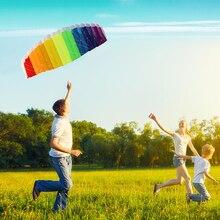 Rainbow Sports Beach Kite Power Dual Line Stunt Parafoil Parachute with 2pcs 30m Nylon Flying