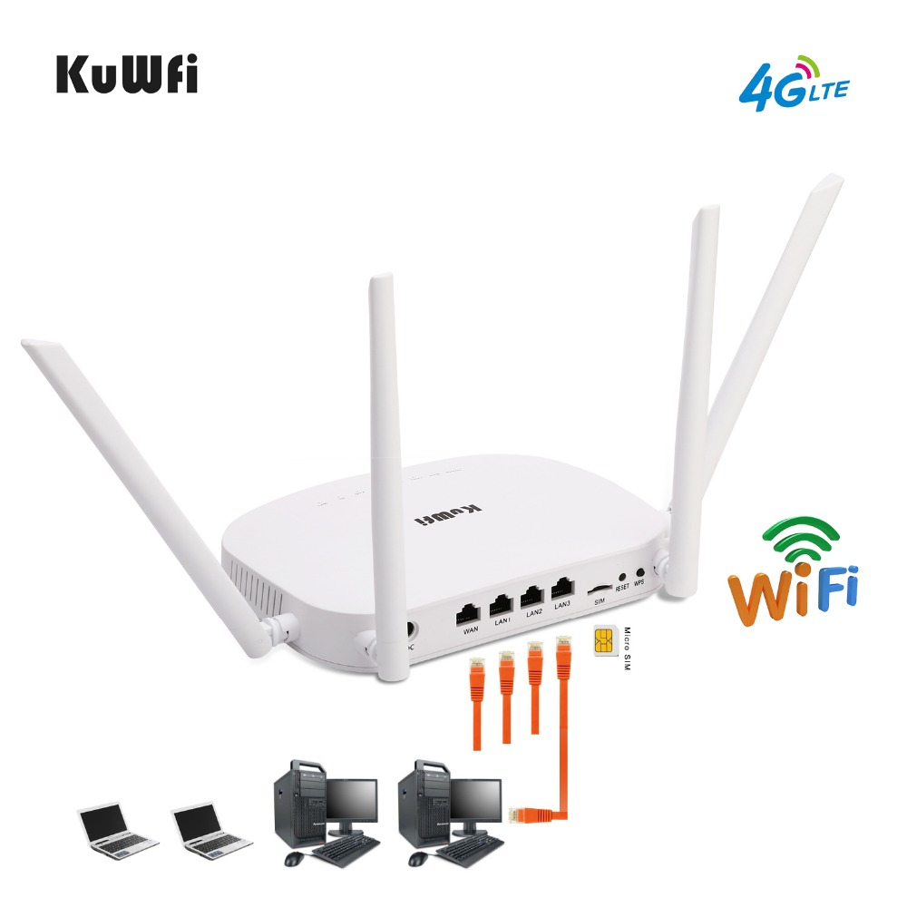 KuWfi 4G CPE Router 3G/4G LTE Wifi Router 300Mbps Wireless CPE Router With 4pcs External Antennas Support 4G to LAN Device