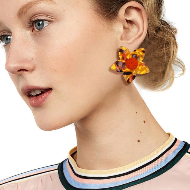 Fashion Big Flower Stud Earrings Wedding Oorbellen Bohemian Earrings For Women Tortoiseshell Acrylic Earings Jewelry Gift