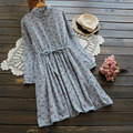 Spring Mori Girl Flowers Print Casual Dress Women Long Sleeve Drawstring Bow Tie Waist Knee Length Soft Female Tunic Dress U619