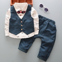 children things kids 1 2 3 4 5 years spring autumn wearing outfit 3 pieces set shirt long sleeve pants trousers vest suit