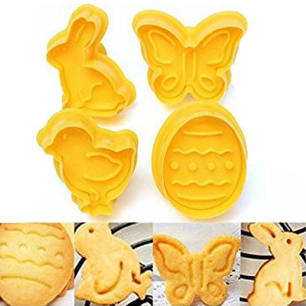 4Pcs Easter Bunny Pattern Plastic Baking Mold Kitchen Biscuit Cookie Cutter Pastry Plunger 3D Die Fondant Cake Decorating Tools