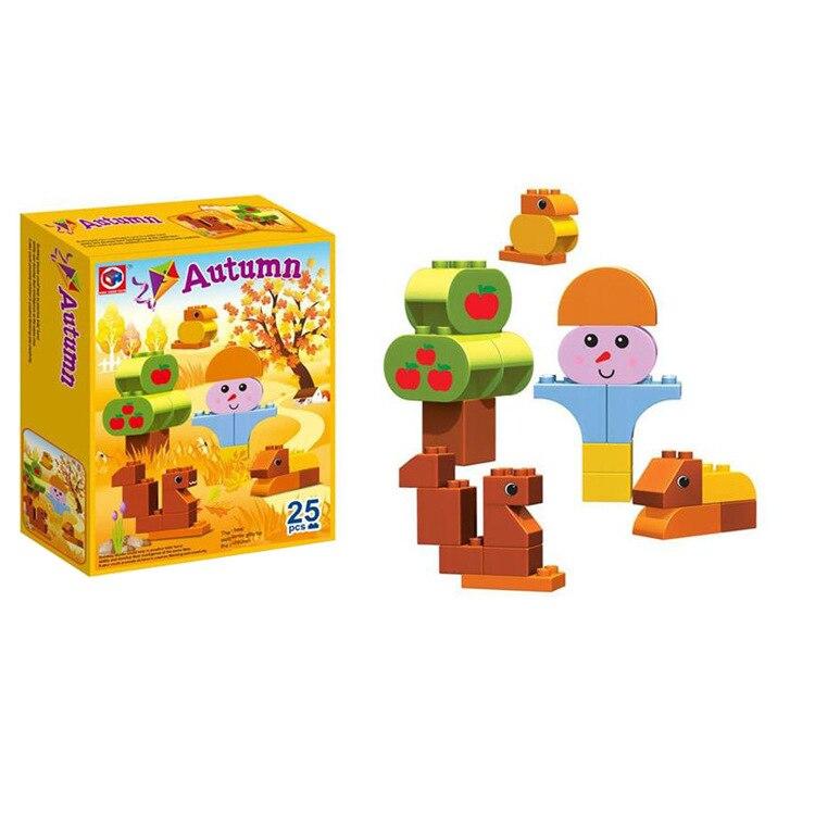 25Pcs Large Particles Four Seasons spring summer autumn winter Building Block Bri Children Educational Toy Compatible Duplo