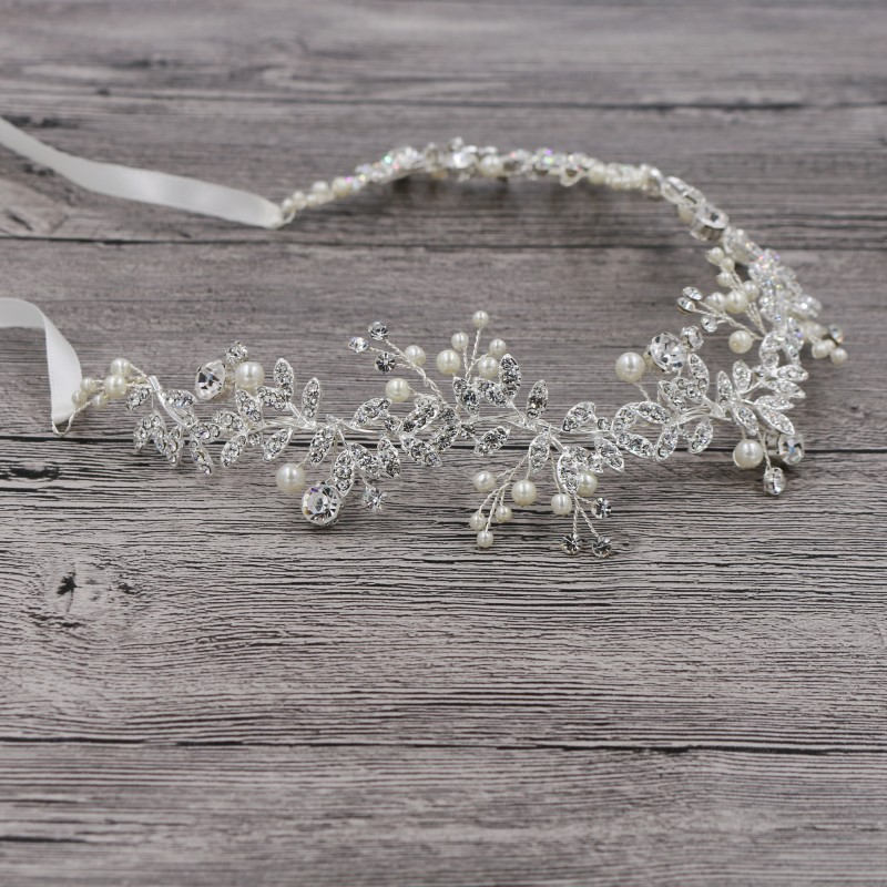 Jonnafe Fashion Silver Color Rhinestone Pearl Bridal Headband - Märkessmycken - Foto 4