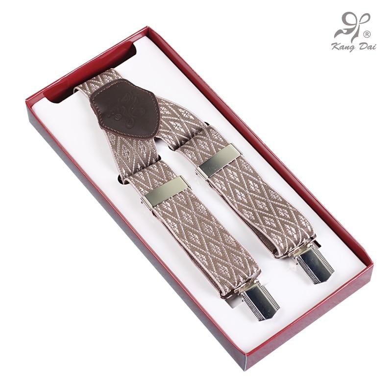 KANGDAI high-quality Modern style Suspenders Man Elastic Adjustable Braces stainless 3 Clips Detachable Belt for Pants, bracesA3