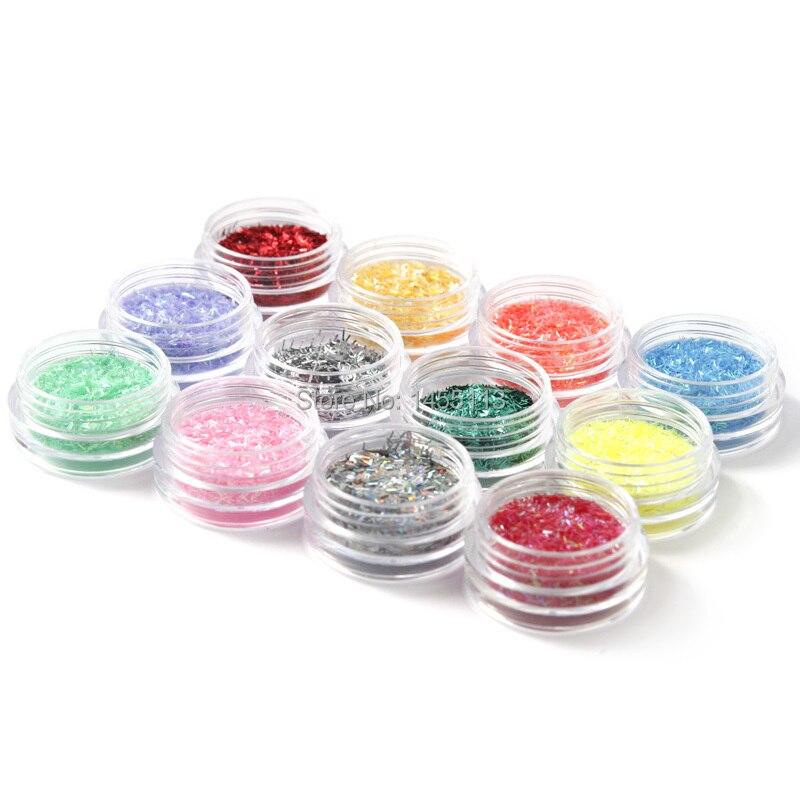 12ピース/パケットファッションネイルグリッターDecorations12色シルクスタイルに必要な熱い販売上のaliexpress