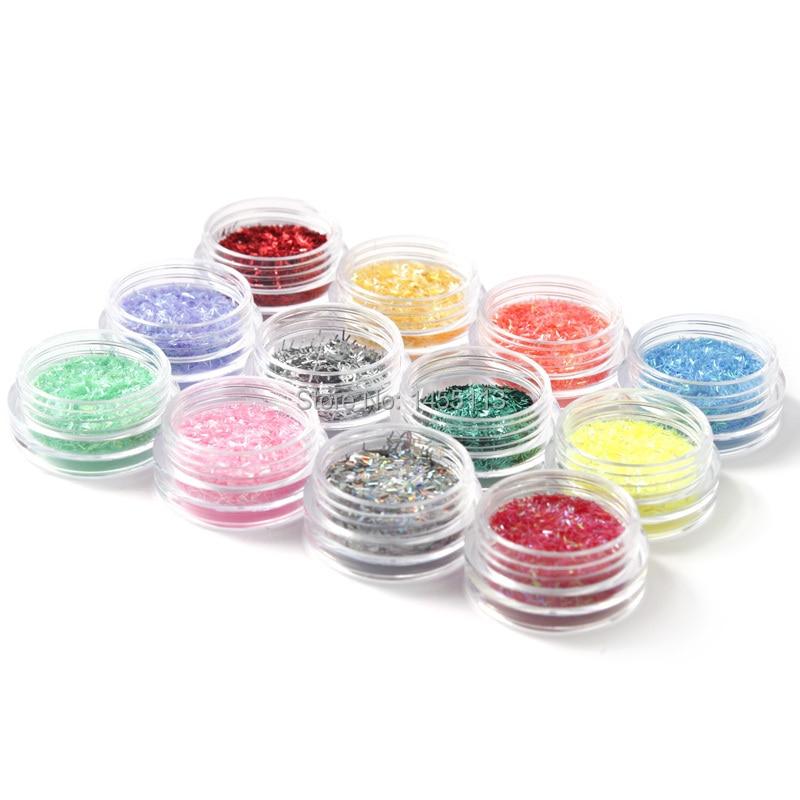 12 cái/Gói Thời Trang Nail Glitter Nail Art Decorations12 Màu Phong Cách Lụa Cần Thiết Bán Nóng Trên AliExpress