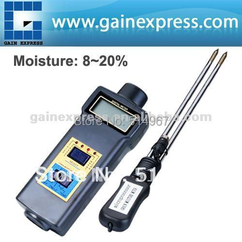 Handheld Digital Grain Temperature 8 ~ 20%  Moisture Meter Tester Rice Corn Wheat + FREE Extra long 2-pin probe digital multi grain moisture meter tester rice wheat rye peas corn oat 6 30% tk25g