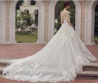 Sheer תחרה בוהמית סגנון שמלות הכלה קו סקסי וינטג O-צוואר שרוולים כתפי Ruched כלה שמלת Vestidos דה Noiva