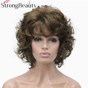 Image 2 - StrongBeauty Peluca de pelo corto sintético rizado para mujer, resistente al calor, sin capa