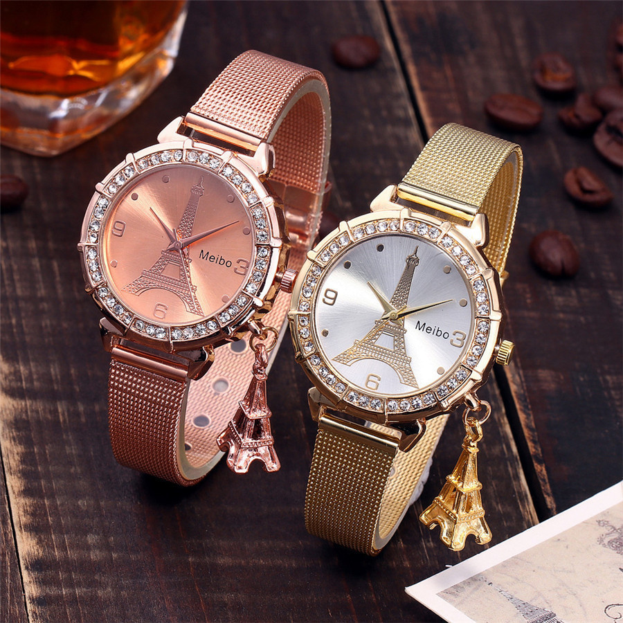 Tower decoration pendant belt watch female models Diamond collection Eiffel pendant jewelry watch manufacturers wholesale