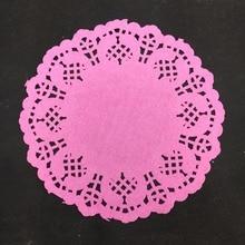 100pcs 5.5Inch diameter 14cm Scrapbooking Pink decoupage paper design Lace Doilies for table decoration accessories Decoration