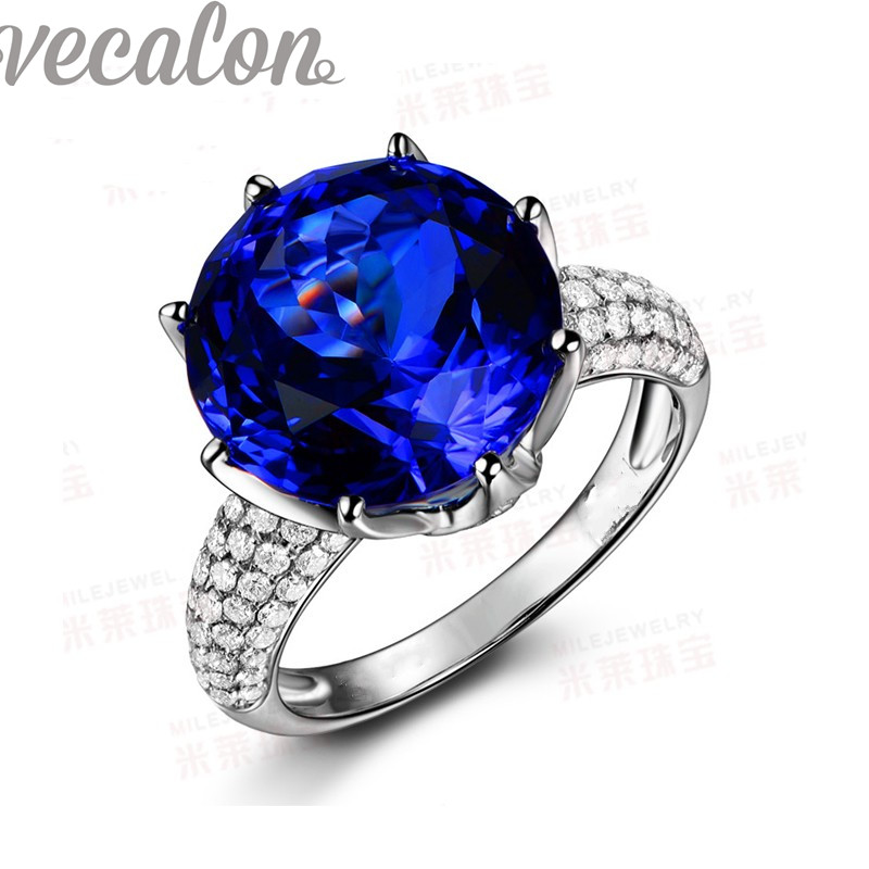 vecalon fashion crown wedding ring for women round 8ct stone aaaaa zircon cz 925 sterling silver - Crown Wedding Ring
