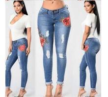 Оптовая новая мода джинсы отверстие вышивка маленькие ноги эластичные джинсы леди