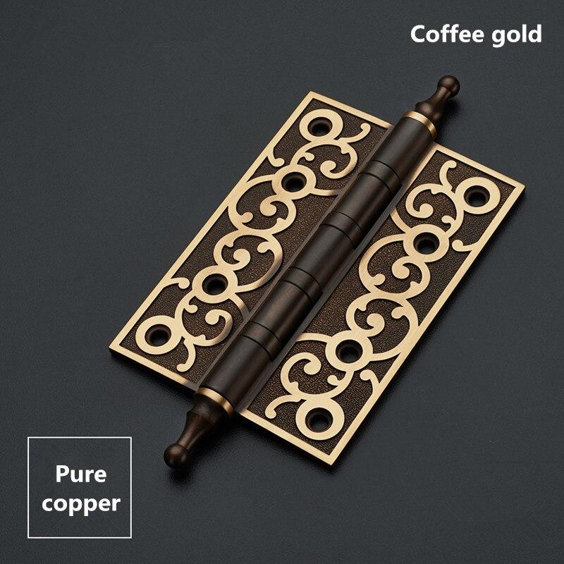 Купить 4 5 дюймов все медные петли двери европейский стиль кофе золото