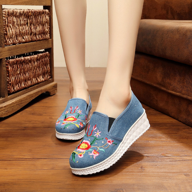 New Vintage Embroidery Casual Shoes Women Canvas All Match Fashion Floral Print Platform Shoes Size 34-40