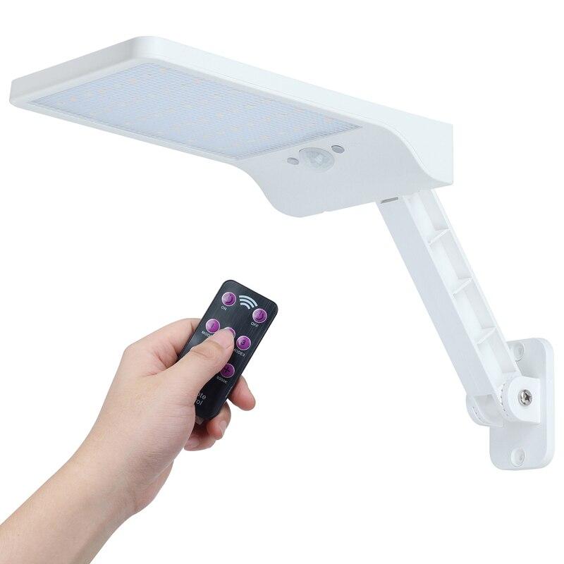 Qlteg 48 led solar luz 450lm pir sensor de movimento ip65 à prova dwaterproof água ao ar livre lâmpada parede jardim rotable controle remoto