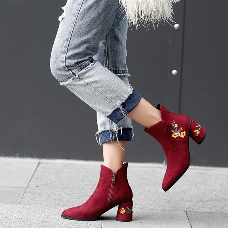 Chaud Brodent Femmes Red Haute Bottes Style wine Pointu Cheville Vente Zvq Zipper En Étrange Hiver Chaussures Air Chaude black Troupeau Mode Nouvelle Apricot Plein 2018 Bout Hqd6d4w