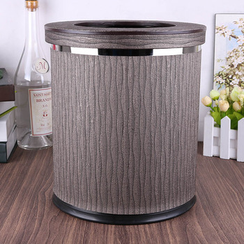 8L Round double-layer home storage trash bin metal+leather rubbish bins kitchen trash bag storage kitchen trash cans PLJT04