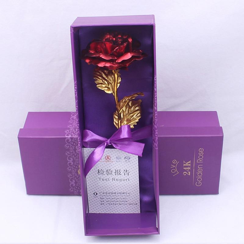 Креативный подарок Роза эмуляция цветок 24 к Золотая фольга Роза подарок на день Святого Валентина одиночный позолоченный букет розы коробка Золотая фольга цветок - Цвет: 01
