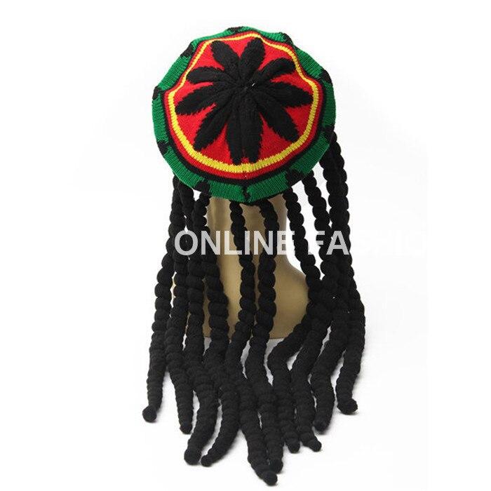 Vendas quentes Rasta Hat gorros malha chapéus da boina Crochet Slouchy Tam Bob  Marley Reggae Jamaica estilo com Dreadlocks perucas Unisex em Skullies ... 689e2dab425