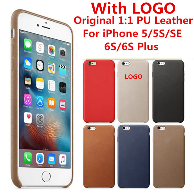 Luxury Case For iPhone 5 5S SE 6 6S 7 8 Plus X PU Leather With LOGO Original 1:1 Cope Back Cover Official Cell Phone bags Cases
