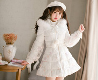 Princess sweet lolita parkas Candy rain winter Japanese Sweet Princess lace fox fur coat Middle and long slim down C22CD7218