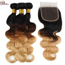 Pinshair Honey Blonde Bundles With Closure Body Wave Peruvian Hair Bundles With Closure Ombre 1B 4 27 Colored Human Hair Nonremy(China)