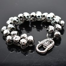 AMUMIU Stainless Steel Skull Bracelet For Men Fashion Mens Biker Jewelry Accessory Punk Rock Mens Bracelets Bangles HZB109