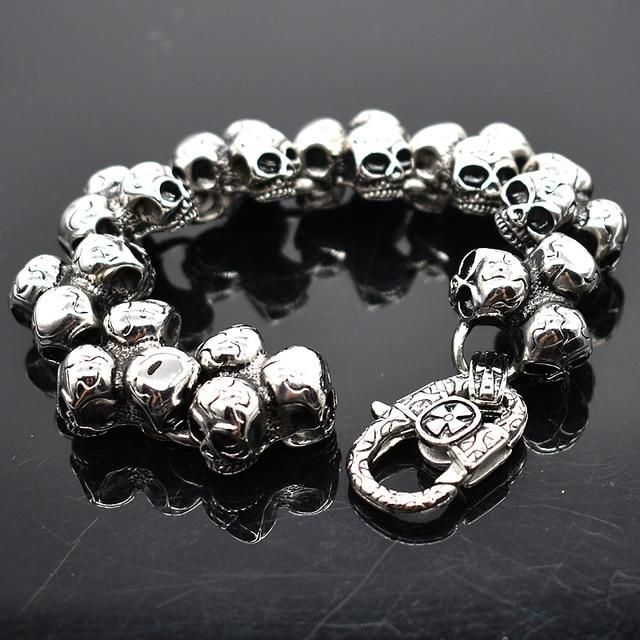 AMUMIU Stainless Steel Skull Bracelet For Men Fashion Mens Biker