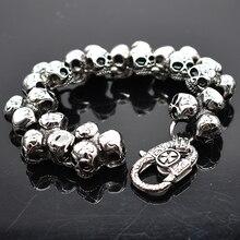AMUMIU czaszka ze stali nierdzewnej bransoletka dla mężczyzn moda mężczyzna Biker biżuteria akcesoria Punk Rock męska bransoletki bransoletki HZB109