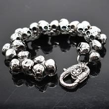 AMUMIU pulsera de calavera de acero inoxidable para hombre, accesorio de joyería para motorista, Punk Rock, brazaletes para hombre, HZB109