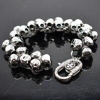 AMUMIU Stainless Steel Skull Bracelet For Men Fashion Mens Biker Jewelry Accessory Punk Rock Men S