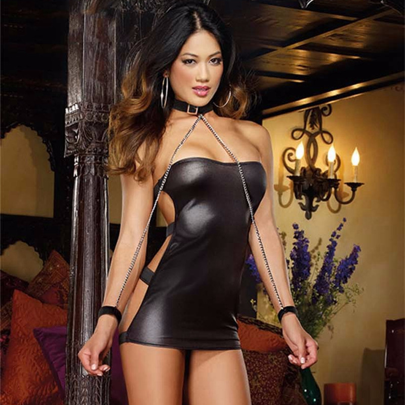 Sexy PVC Leather Lingerie Latex Dress Black Shiny PVC Halter Sleeveless Catsuit Erotic Bondage Pleated Dress Clubwear Costume