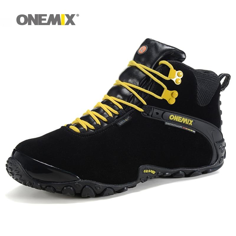 ФОТО Onemix Men's New Autumn Winter Anti Slip Outdoor Hiking Shoes Wool Lining Women Warm Trekking Comfortable Shoes Plus Size