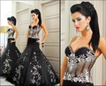 2016 Sexy Black Homecoming Dresses Sweetheart Applique Beads Floor-Length Mermaid Party Gowns Arabia Satin Evening Dresses