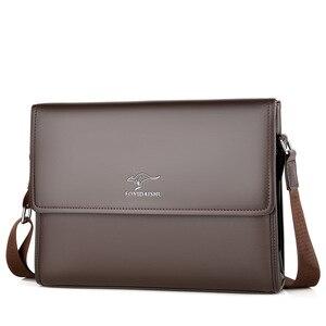 Image 4 - Bolsa de Ombro negócio Saco Dos Homens Messenger Marca canguru Crossbody bag para o sexo masculino Moda Casual Homem do vintage de Couro PU Bolsas