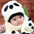 Winter warm Lovely Panda Hats Scarf Suits Baby Caps Kids Aviator Hat Bomber Winter Cap Children Masks cute clothing Accessories