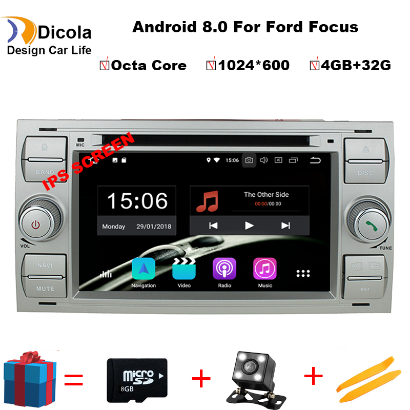 2din Android 8.0 DAB+Car DVD Player In Dash For Ford Transit Focus Connect S MAX Kuga Mondeo With QuadCore Wifi 4G GPS Bluetooth