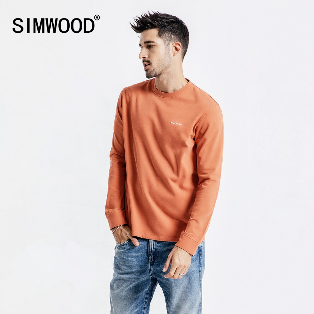 SIMWOOD Casual Long Sleeve T-Shirt Men Letter Embroided t shirt 100% Cotton Fashion Streetwear Autumn Tops Tees Male 190113